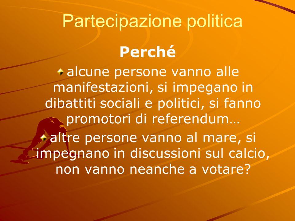 Partecipazione politica Perché alcune persone vanno alle manifestazioni, si impegano in dibattiti sociali e politici, si fanno promotori di referendum