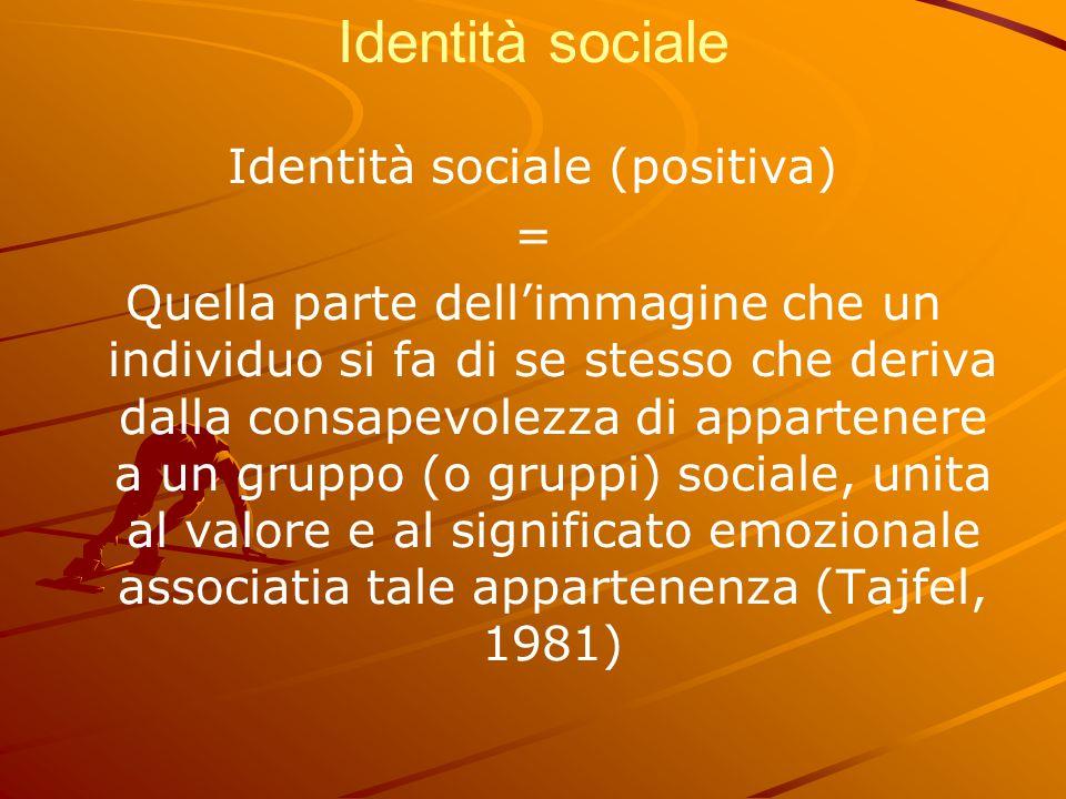 Identità sociale Identità sociale (positiva) = Quella parte dell'immagine che un individuo si fa di se stesso che deriva dalla consapevolezza di appar