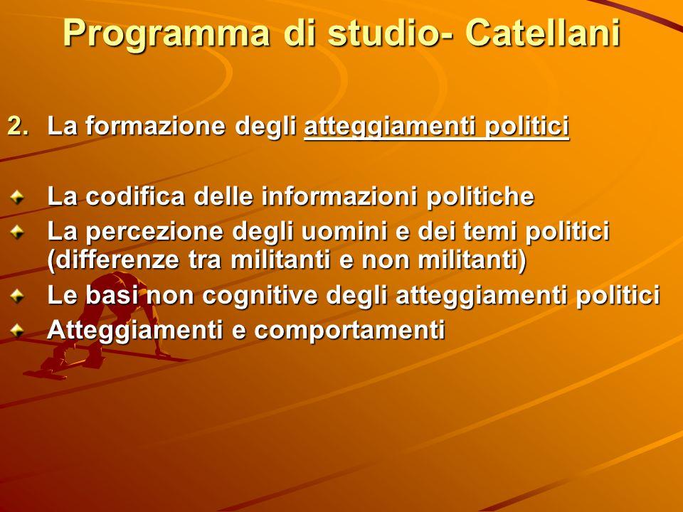 Programma di studio- Catellani  La formazione degli atteggiamenti politici La codifica delle informazioni politiche La percezione degli uomini e dei