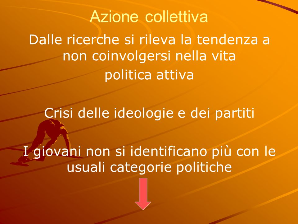 Azione collettiva Dalle ricerche si rileva la tendenza a non coinvolgersi nella vita politica attiva Crisi delle ideologie e dei partiti I giovani non