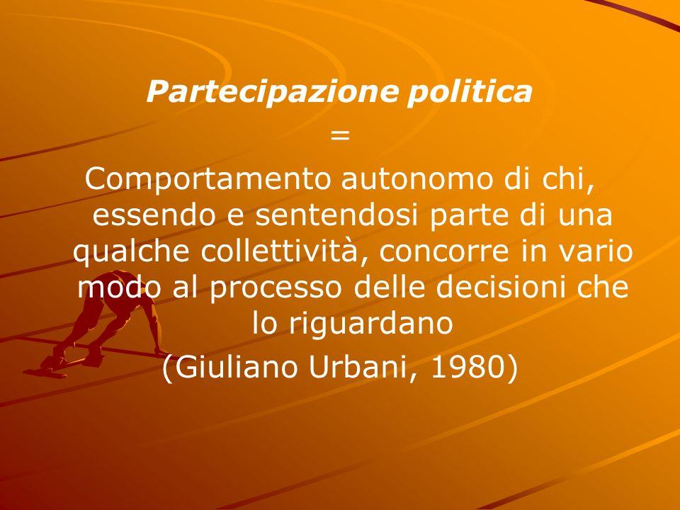 Partecipazione politica = Comportamento autonomo di chi, essendo e sentendosi parte di una qualche collettività, concorre in vario modo al processo de