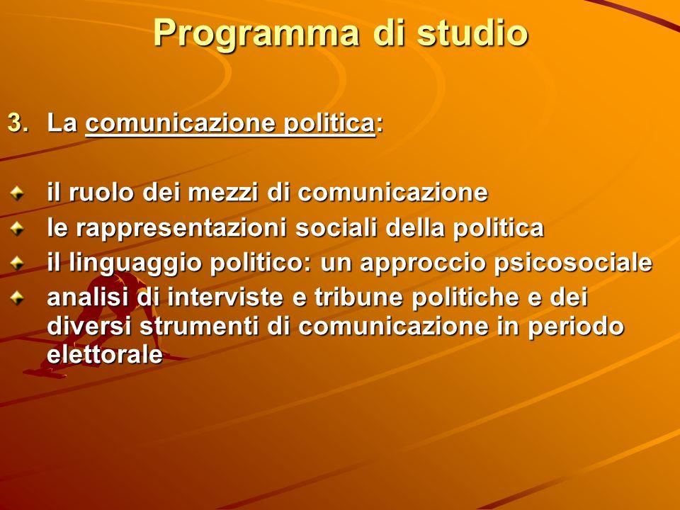 Programma di studio  La comunicazione politica: il ruolo dei mezzi di comunicazione le rappresentazioni sociali della politica il linguaggio politic