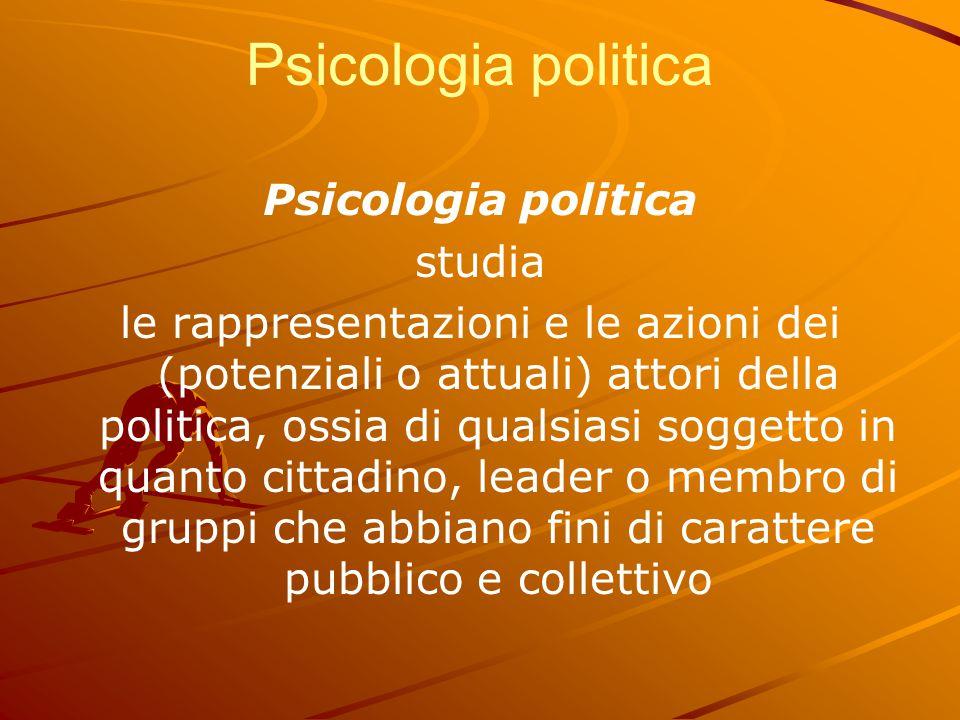 Psicologia politica studia le rappresentazioni e le azioni dei (potenziali o attuali) attori della politica, ossia di qualsiasi soggetto in quanto cit