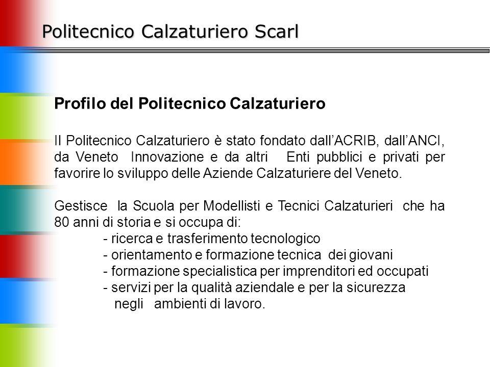Politecnico Calzaturiero Scarl Profilo del Politecnico Calzaturiero Il Politecnico Calzaturiero è stato fondato dall'ACRIB, dall'ANCI, da Veneto Innov