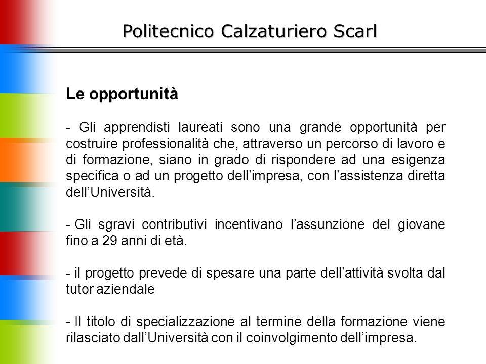 Politecnico Calzaturiero Scarl Le opportunità - Gli apprendisti laureati sono una grande opportunità per costruire professionalità che, attraverso un