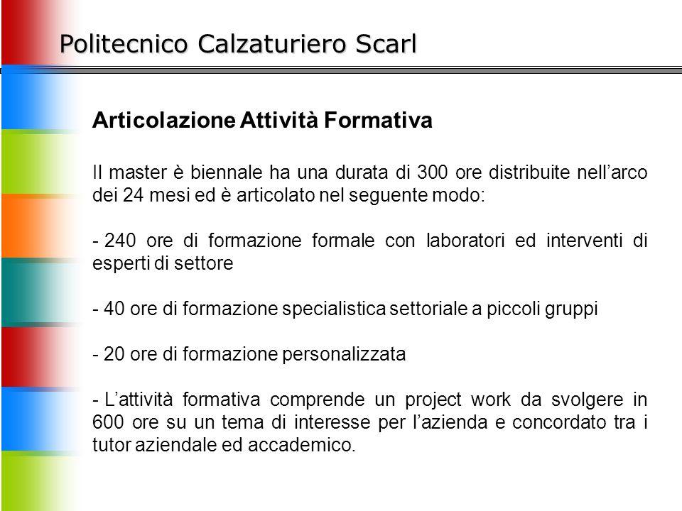 Politecnico Calzaturiero Scarl Articolazione Attività Formativa Il master è biennale ha una durata di 300 ore distribuite nell'arco dei 24 mesi ed è a