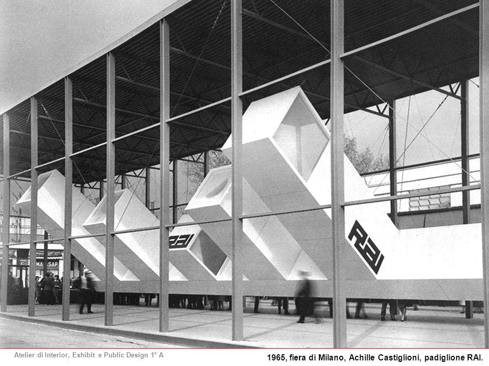 Atelier di Interior, Exhibit e Public Design 1° A 1965, fiera di Milano, Achille Castiglioni, padiglione RAI.