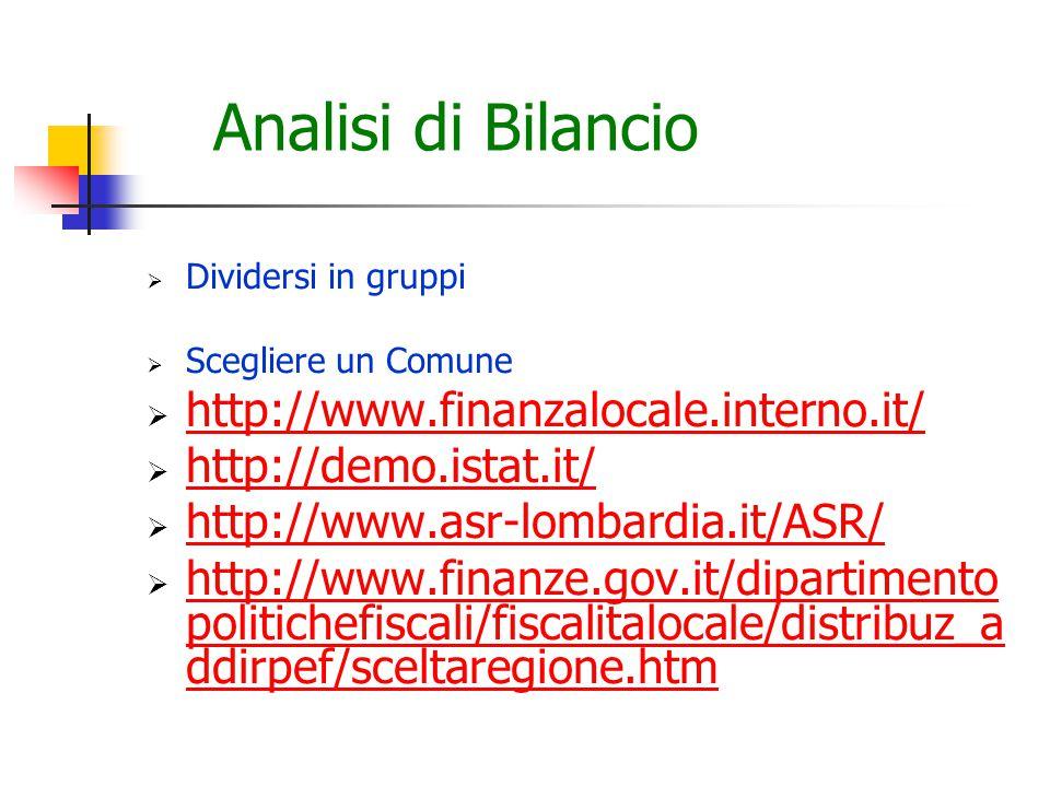 Analisi di Bilancio  Dividersi in gruppi  Scegliere un Comune  http://www.finanzalocale.interno.it/ http://www.finanzalocale.interno.it/  http://demo.istat.it/ http://demo.istat.it/  http://www.asr-lombardia.it/ASR/ http://www.asr-lombardia.it/ASR/  http://www.finanze.gov.it/dipartimento politichefiscali/fiscalitalocale/distribuz_a ddirpef/sceltaregione.htm http://www.finanze.gov.it/dipartimento politichefiscali/fiscalitalocale/distribuz_a ddirpef/sceltaregione.htm