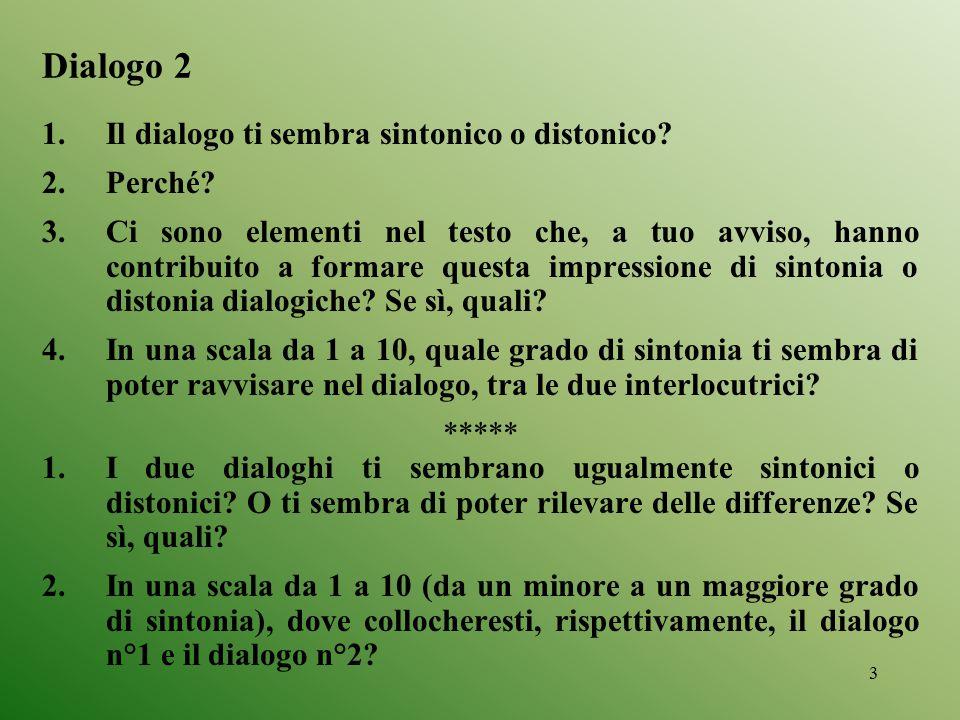 3 Dialogo 2 1.Il dialogo ti sembra sintonico o distonico? 2.Perché? 3.Ci sono elementi nel testo che, a tuo avviso, hanno contribuito a formare questa
