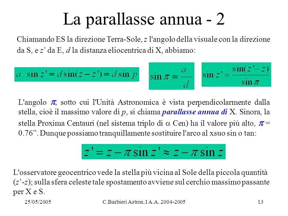 25/05/2005C.Barbieri Astron. I A.A. 2004-200513 La parallasse annua - 2 Chiamando ES la direzione Terra-Sole, z l'angolo della visuale con la direzion