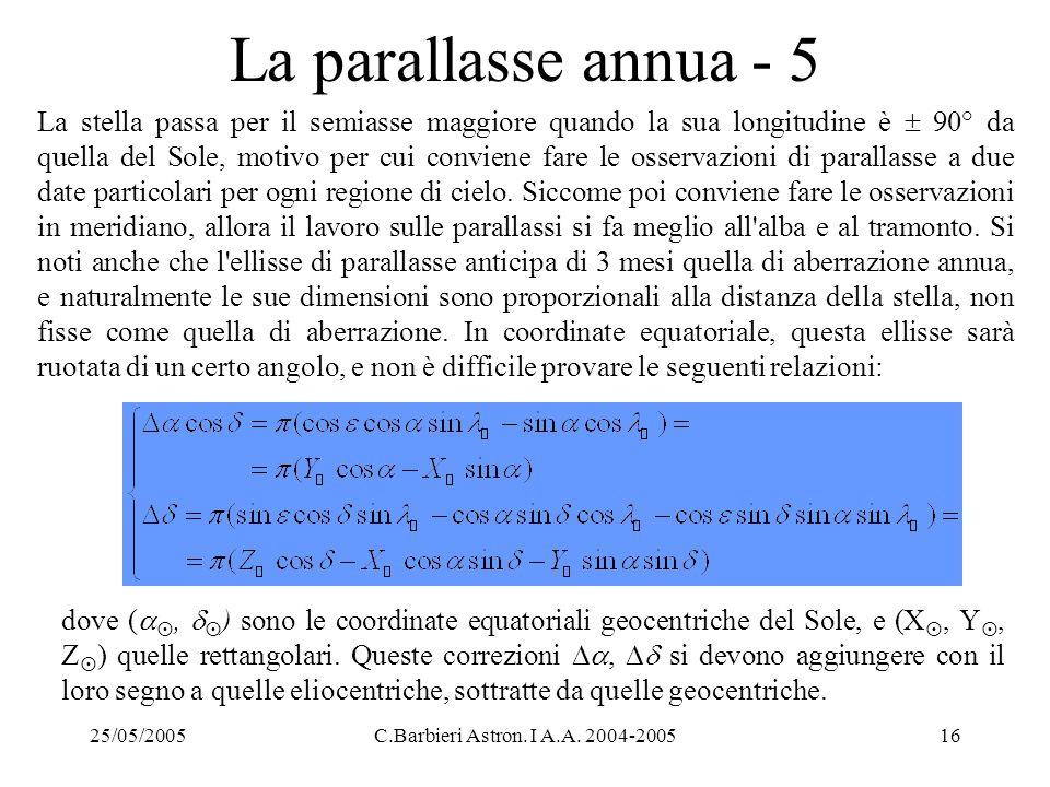 25/05/2005C.Barbieri Astron. I A.A. 2004-200516 La parallasse annua - 5 La stella passa per il semiasse maggiore quando la sua longitudine è  90° da