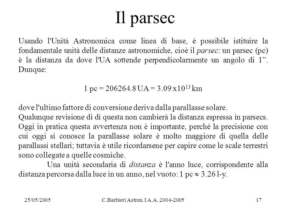 25/05/2005C.Barbieri Astron. I A.A. 2004-200517 Il parsec Usando l'Unità Astronomica come linea di base, è possibile istituire la fondamentale unità d