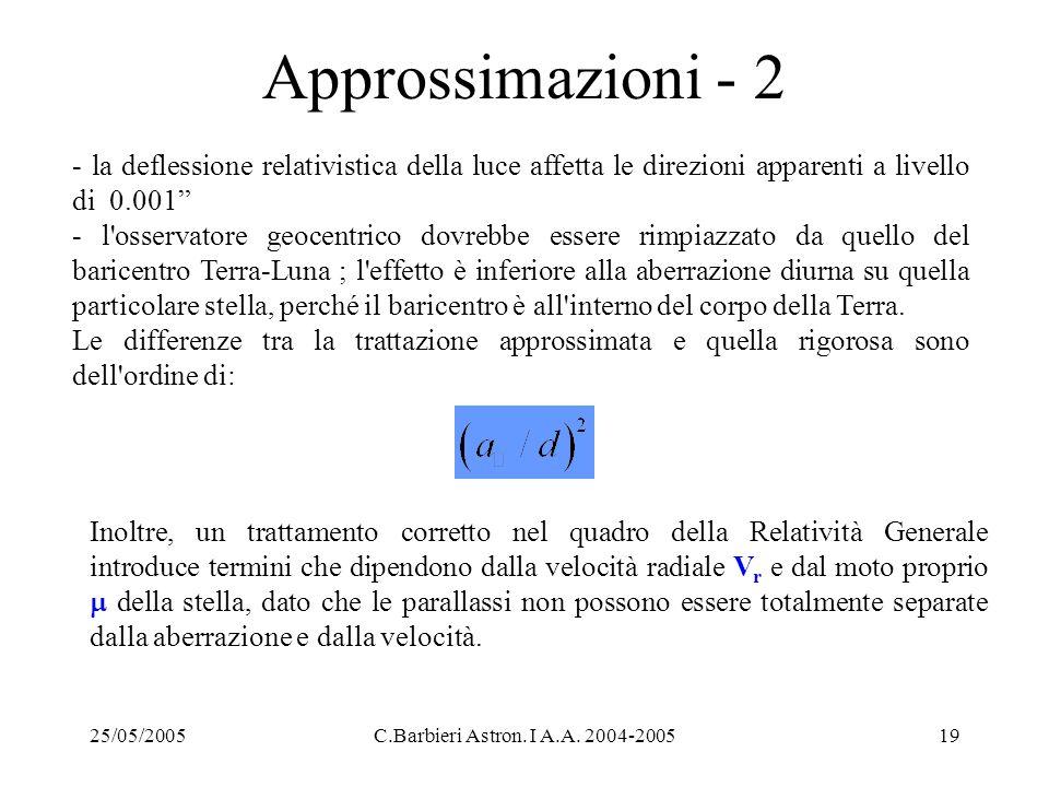 25/05/2005C.Barbieri Astron. I A.A. 2004-200519 Approssimazioni - 2 - la deflessione relativistica della luce affetta le direzioni apparenti a livello