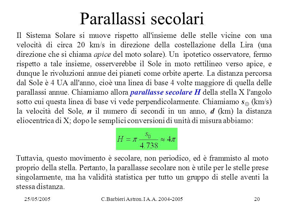 25/05/2005C.Barbieri Astron. I A.A. 2004-200520 Parallassi secolari Il Sistema Solare si muove rispetto all'insieme delle stelle vicine con una veloci