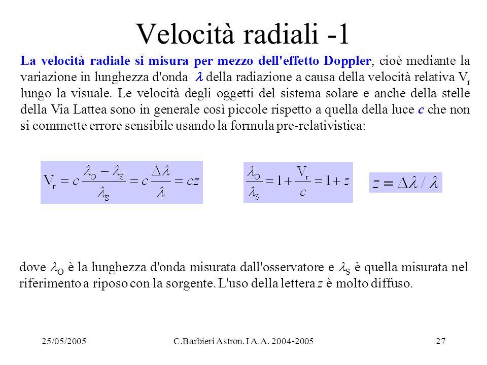 25/05/2005C.Barbieri Astron. I A.A. 2004-200527 Velocità radiali -1 La velocità radiale si misura per mezzo dell'effetto Doppler, cioè mediante la var