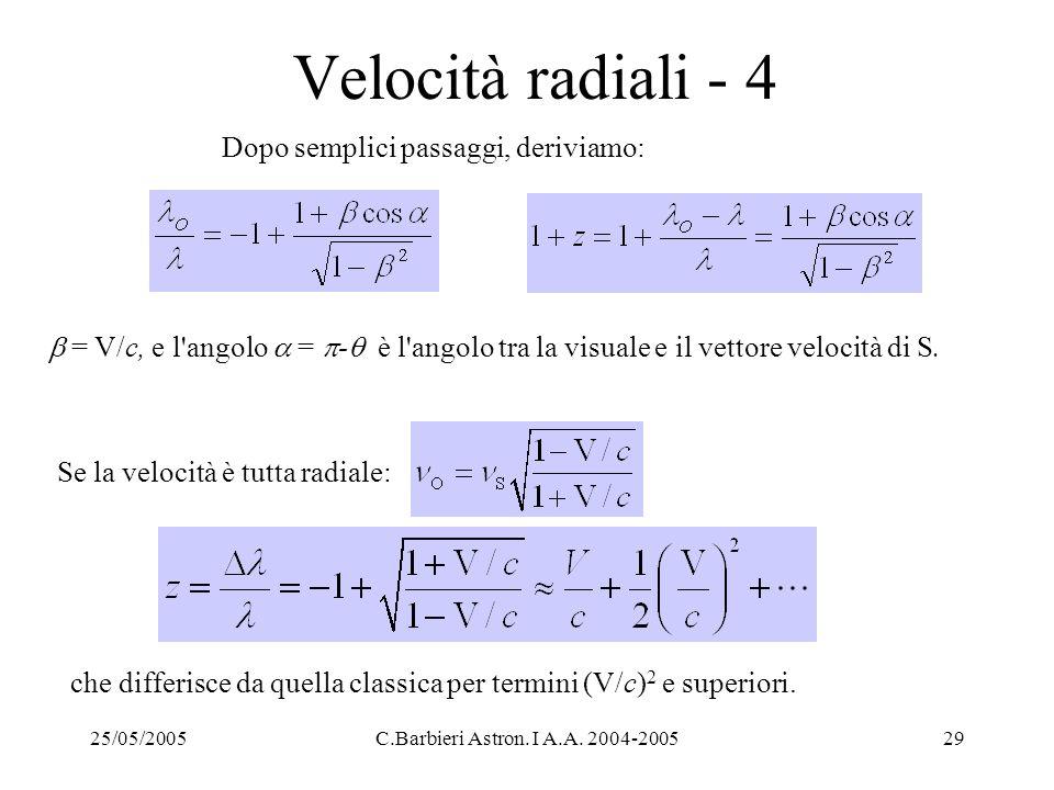 25/05/2005C.Barbieri Astron. I A.A. 2004-200529 Velocità radiali - 4 Se la velocità è tutta radiale: Dopo semplici passaggi, deriviamo:  = V/c, e l'a