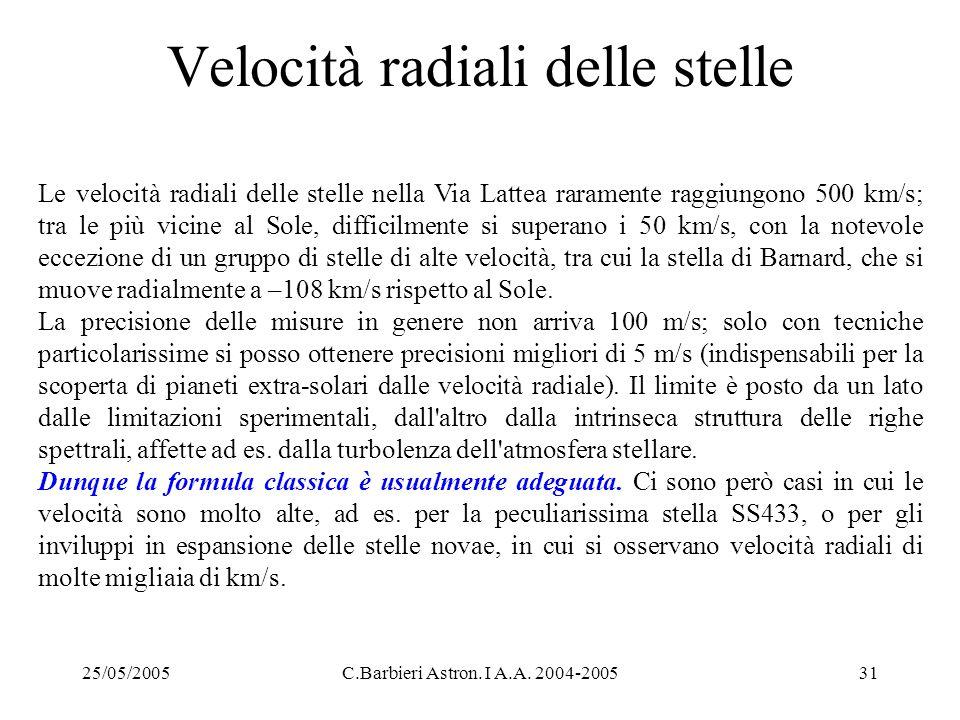 25/05/2005C.Barbieri Astron. I A.A. 2004-200531 Velocità radiali delle stelle Le velocità radiali delle stelle nella Via Lattea raramente raggiungono