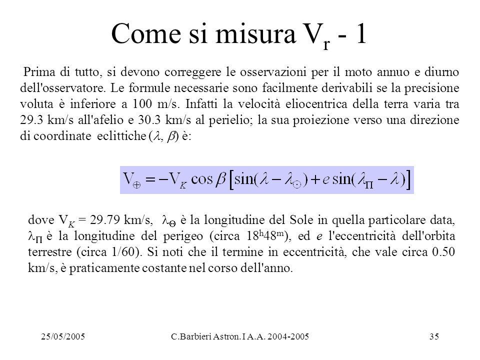 25/05/2005C.Barbieri Astron. I A.A. 2004-200535 Come si misura V r - 1 Prima di tutto, si devono correggere le osservazioni per il moto annuo e diurno