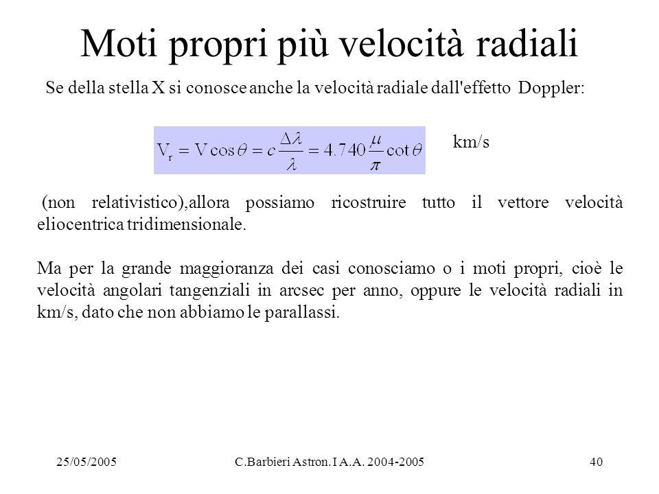 25/05/2005C.Barbieri Astron. I A.A. 2004-200540 Moti propri più velocità radiali Se della stella X si conosce anche la velocità radiale dall'effetto D