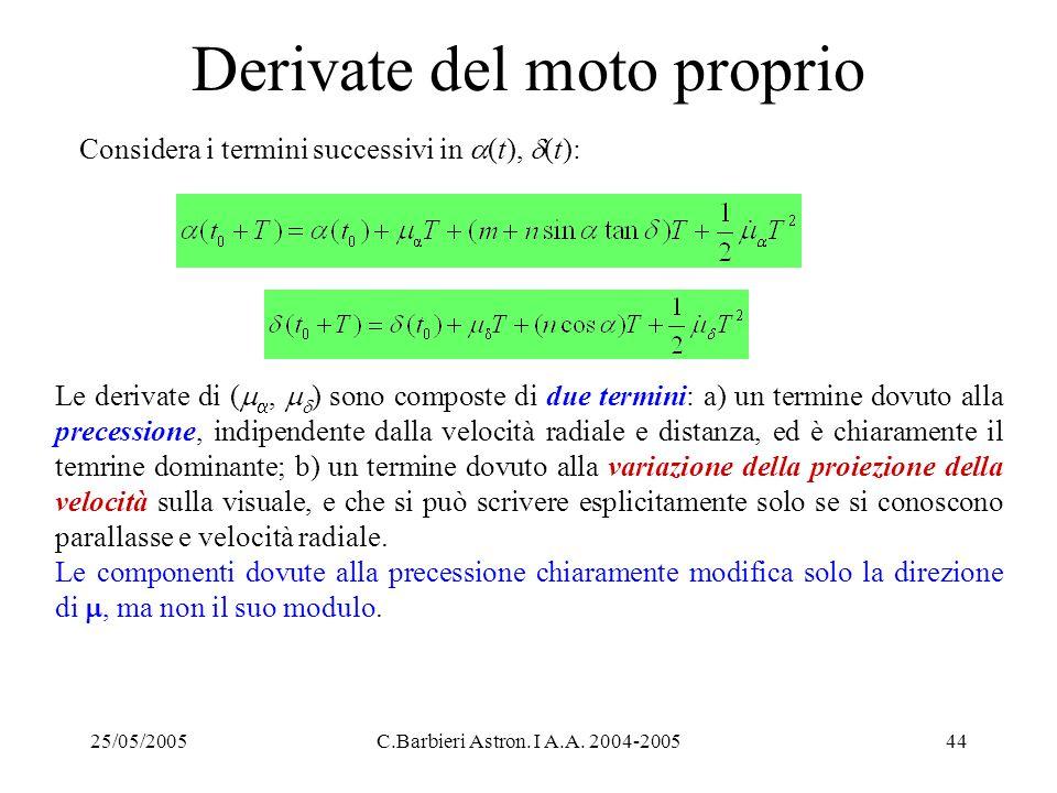 25/05/2005C.Barbieri Astron. I A.A. 2004-200544 Derivate del moto proprio Considera i termini successivi in  (t),  (t): Le derivate di (  ,   )