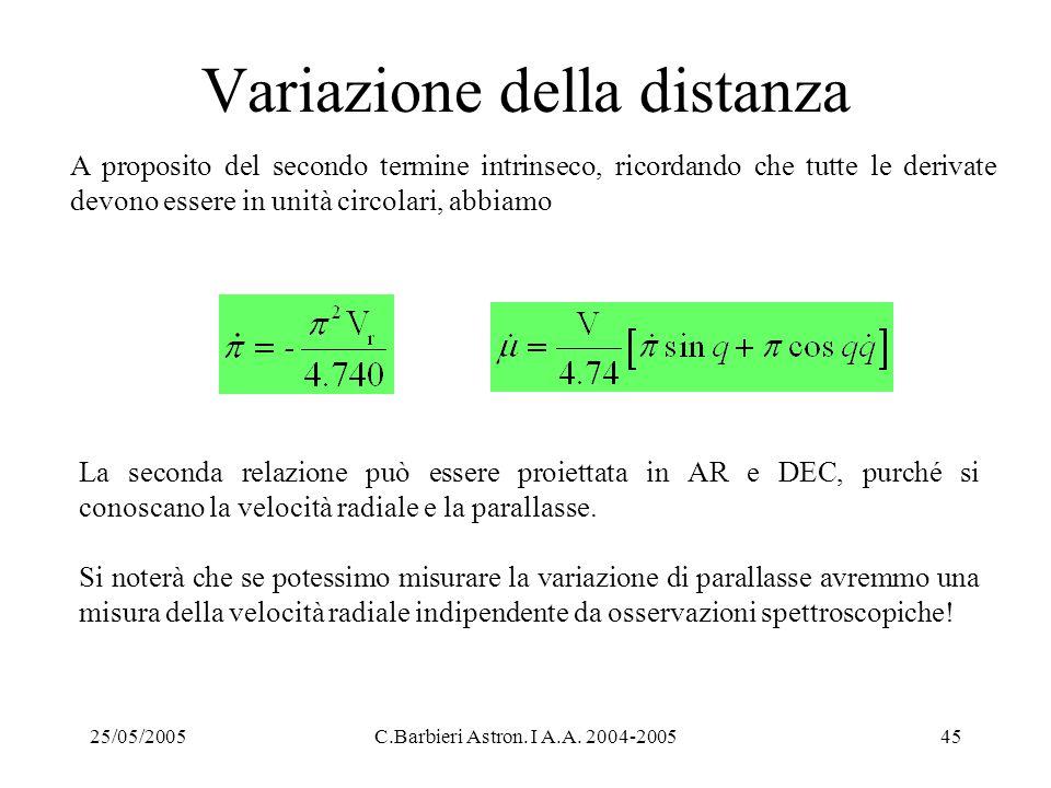 25/05/2005C.Barbieri Astron. I A.A. 2004-200545 Variazione della distanza A proposito del secondo termine intrinseco, ricordando che tutte le derivate