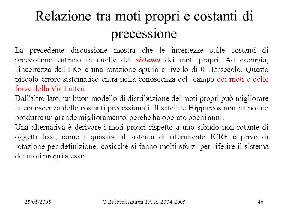 25/05/2005C.Barbieri Astron. I A.A. 2004-200546 Relazione tra moti propri e costanti di precessione La precedente discussione mostra che le incertezze