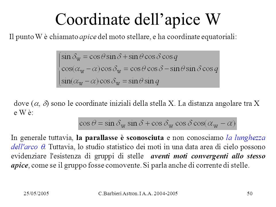 25/05/2005C.Barbieri Astron. I A.A. 2004-200550 Coordinate dell'apice W Il punto W è chiamato apice del moto stellare, e ha coordinate equatoriali: do