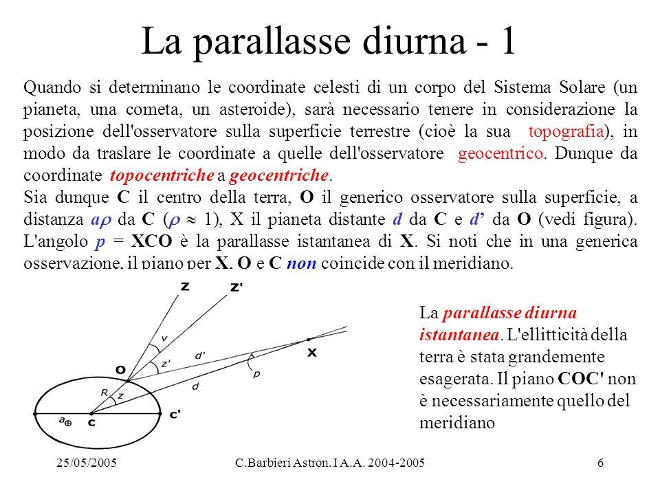 25/05/2005C.Barbieri Astron. I A.A. 2004-20056 La parallasse diurna - 1 Quando si determinano le coordinate celesti di un corpo del Sistema Solare (un