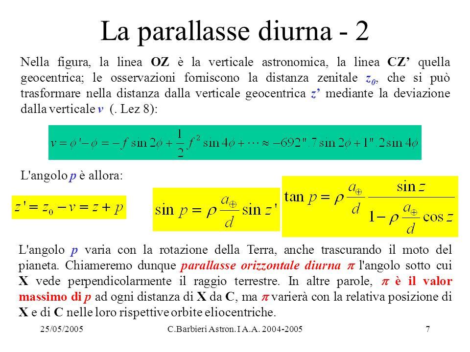 25/05/2005C.Barbieri Astron. I A.A. 2004-20057 La parallasse diurna - 2 Nella figura, la linea OZ è la verticale astronomica, la linea CZ' quella geoc