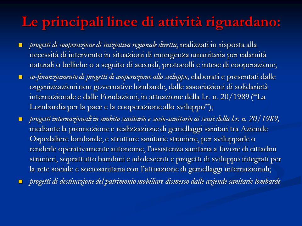 Le principali linee di attività riguardano: Le principali linee di attività riguardano: progetti di cooperazione di iniziativa regionale diretta, real