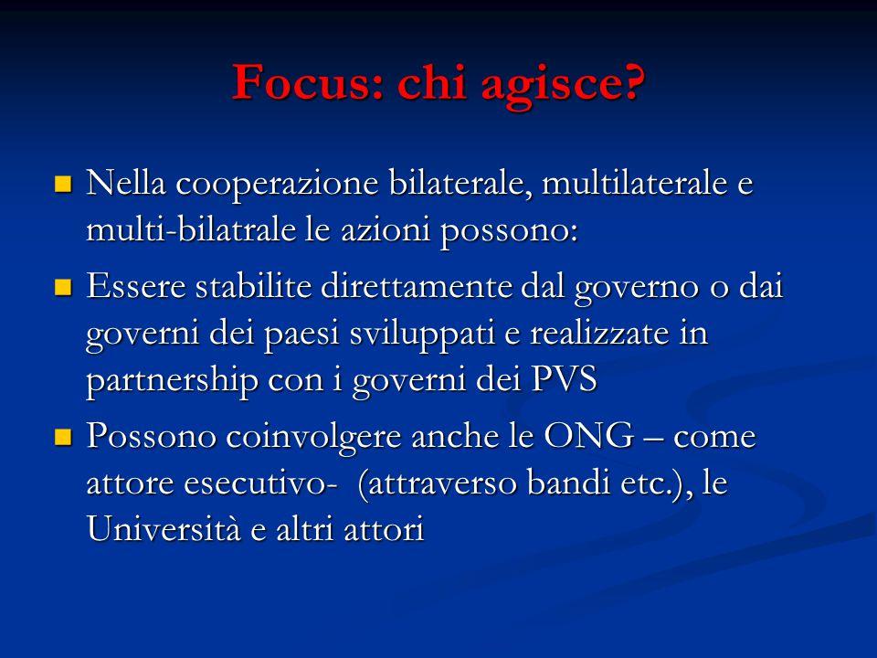 Focus: chi agisce? Nella cooperazione bilaterale, multilaterale e multi-bilatrale le azioni possono: Nella cooperazione bilaterale, multilaterale e mu