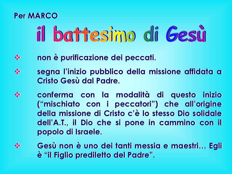Per MARCO  non è purificazione dei peccati.  segna l'inizio pubblico della missione affidata a Cristo Gesù dal Padre.  conferma con la modalità di