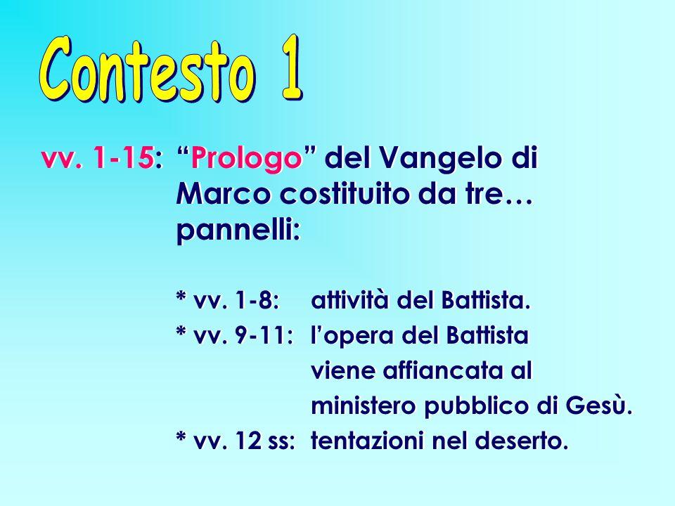 """vv. 1-15: """"Prologo"""" del Vangelo di Marco costituito da tre… pannelli: * vv. 1-8: attività del Battista. * vv. 9-11: l'opera del Battista viene affianc"""