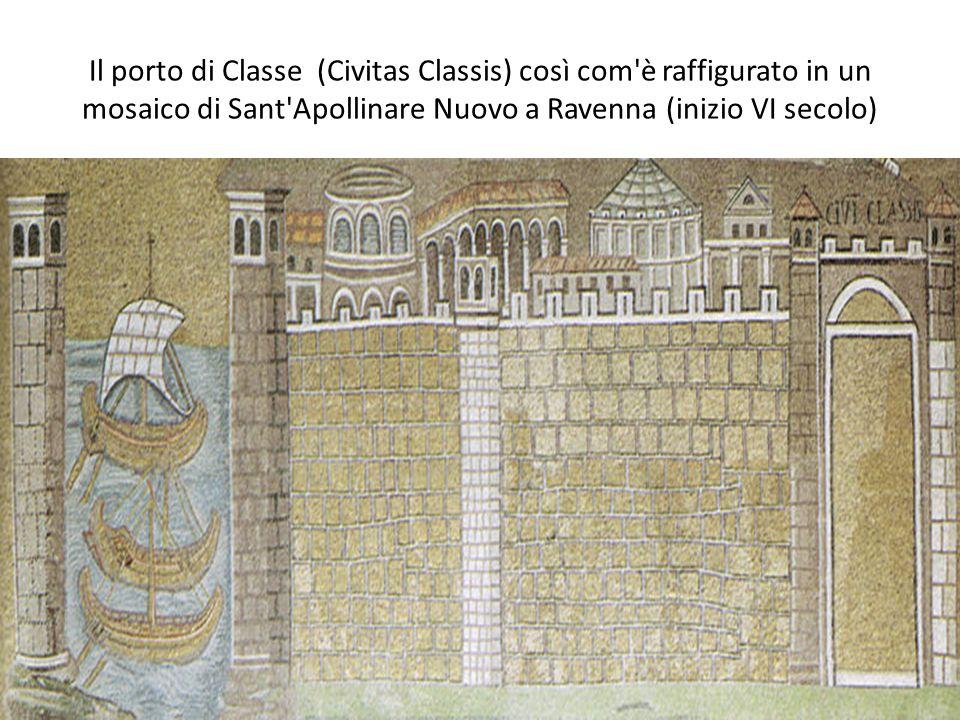 Il porto di Classe (Civitas Classis) così com'è raffigurato in un mosaico di Sant'Apollinare Nuovo a Ravenna (inizio VI secolo)