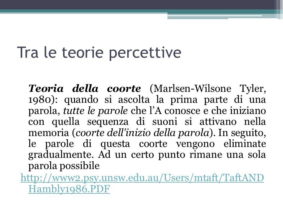 Tra le teorie percettive Teoria della coorte (Marlsen-Wilsone Tyler, 1980): quando si ascolta la prima parte di una parola, tutte le parole che l'A co