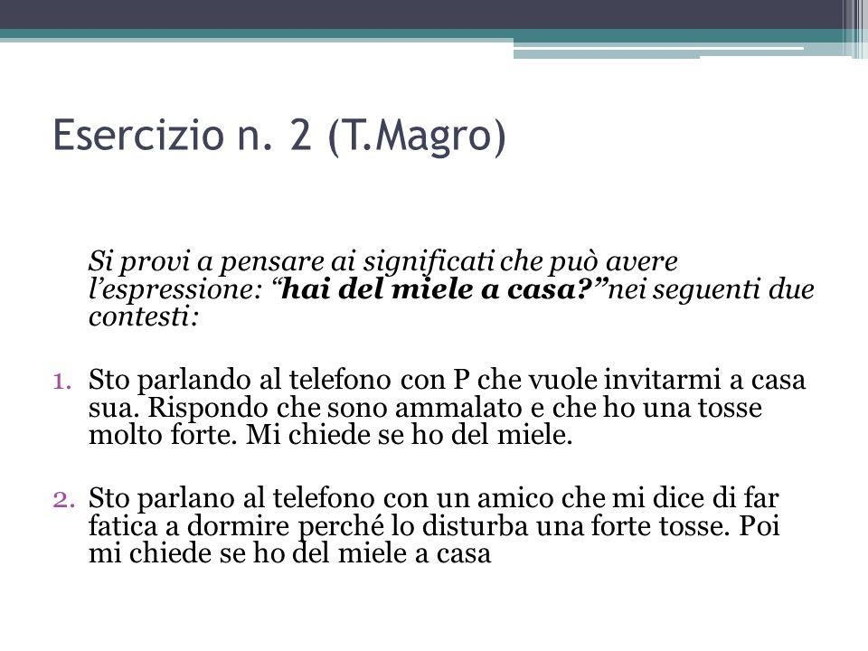 """Esercizio n. 2 (T.Magro) Si provi a pensare ai significati che può avere l'espressione: """"hai del miele a casa?""""nei seguenti due contesti: 1.Sto parlan"""