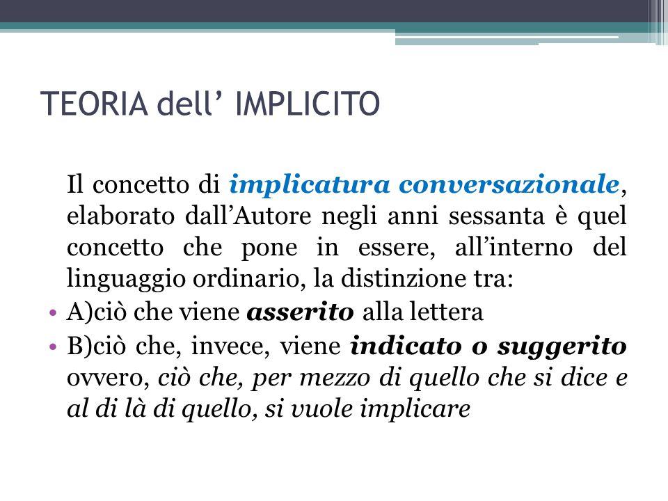 TEORIA dell' IMPLICITO Il concetto di implicatura conversazionale, elaborato dall'Autore negli anni sessanta è quel concetto che pone in essere, all'i
