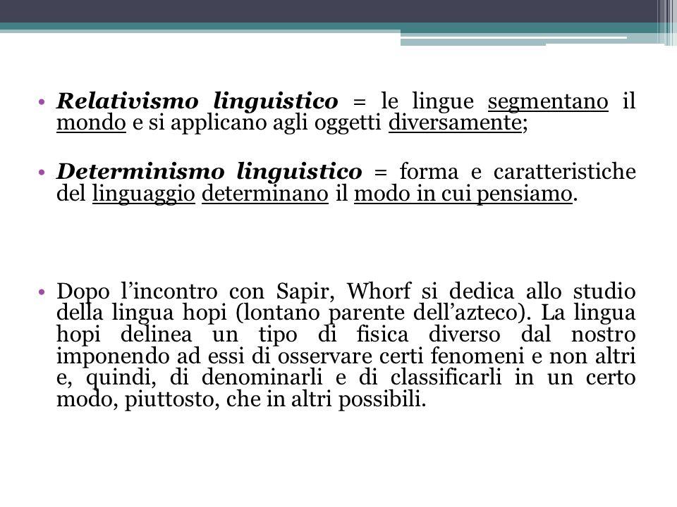 Relativismo linguistico = le lingue segmentano il mondo e si applicano agli oggetti diversamente; Determinismo linguistico = forma e caratteristiche d