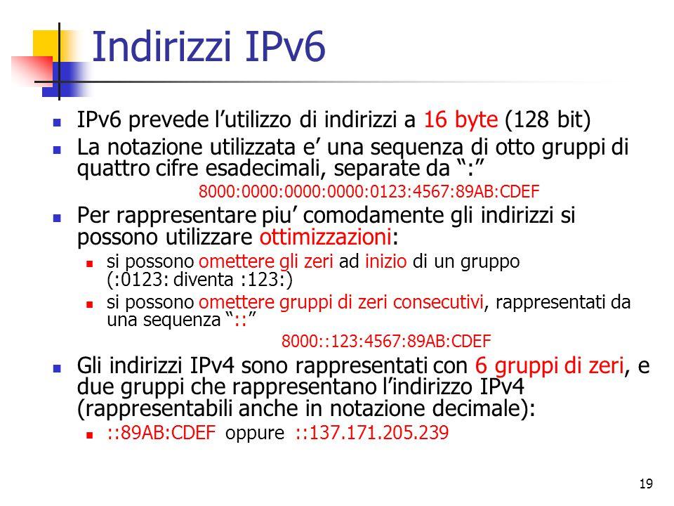 20 Indirizzi IPv6 (cont.) Come per IPv4 l'indirizzo contiene una informazione di rete ed una informazione di host La notazione per definire quale parte dell'indirizzo e' dedicato alla rete e' quella di specificare la lunghezza in bit dell'indirizzo di rete dopo un / in coda all'indirizzo (come in IPv4) Anche in IPv6 la rete e identificata dall'indirizzo con tutti 0 nel campo di indirizzo dell'host