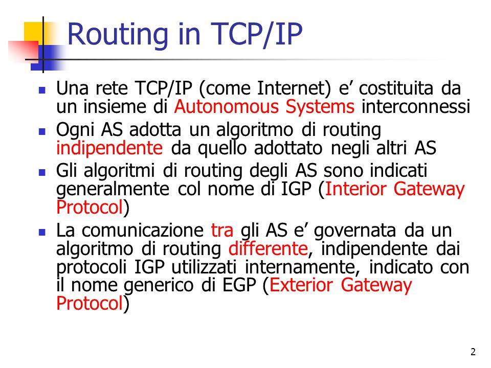 3 Protocolli IGP: RIP Il primo protocollo di routing interno utilizzato in Internet e' il RIP (Routing Information Protocol), ereditato da Arpanet RIP e' un protocollo basato sull'algoritmo distance vector Deve la sua diffusione al fatto che una sua implementazione (routed) era compresa nella Berkeley Software Distribution di Unix che supportava il TCP/IP Adatto a reti di dimensioni limitate, ha iniziato a mostrare i suoi limiti gia' alla fine degli anni '70 Attualmente ancora utilizzato come protocollo di routing in qualche piccola rete privata