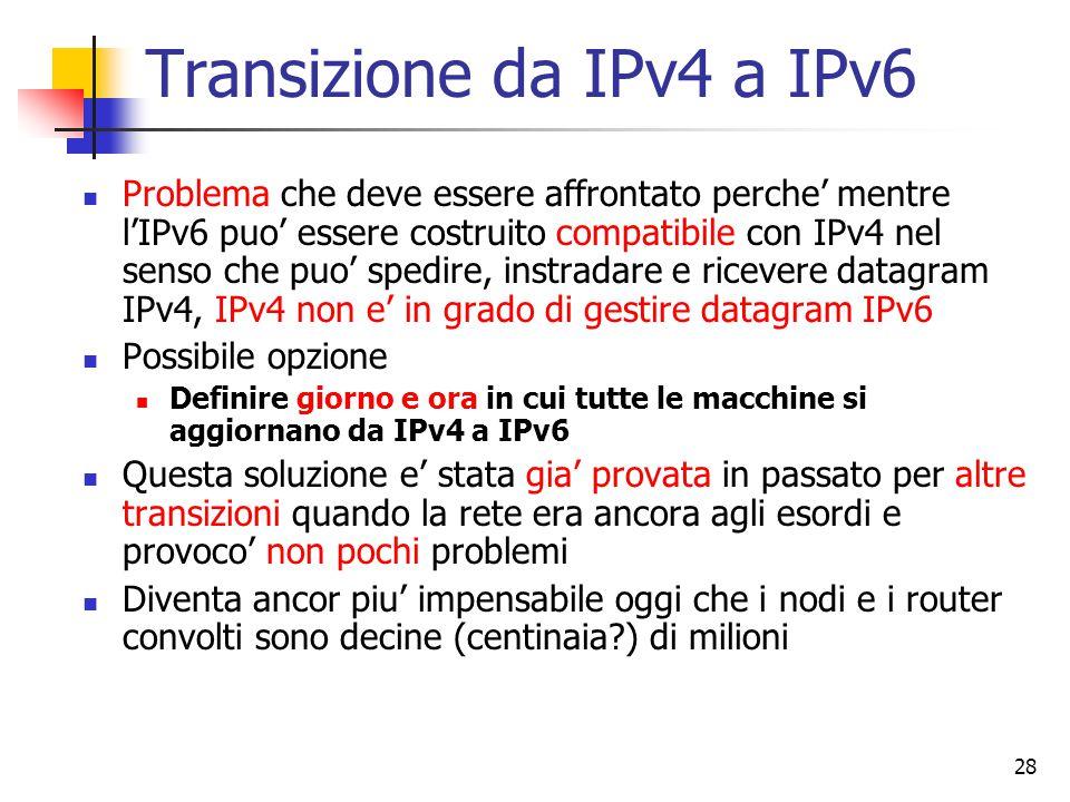 29 Opzione: nodi dual stack Questa opzione prevede l'introduzione di nodi IPv6 compatibili, in cui i nodi IPv6 dispongono pure di una completa implementazione IPv4 I nodi IPv6/IPv4 (RFC 1933) hanno entrambi gli indirizzi e devono essere in grado di determinare se il nodo con cui devono parlare e' un nodo IPv6 compatibile o solo IPv4 Questo puo' comunque portare come risultato che 2 nodi IPv6 compatibili si scambino comunque tra loro datagram IPv4