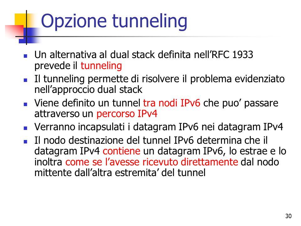 30 Opzione tunneling Un alternativa al dual stack definita nell'RFC 1933 prevede il tunneling Il tunneling permette di risolvere il problema evidenziato nell'approccio dual stack Viene definito un tunnel tra nodi IPv6 che puo' passare attraverso un percorso IPv4 Verranno incapsulati i datagram IPv6 nei datagram IPv4 Il nodo destinazione del tunnel IPv6 determina che il datagram IPv4 contiene un datagram IPv6, lo estrae e lo inoltra come se l'avesse ricevuto direttamente dal nodo mittente dall'altra estremita' del tunnel