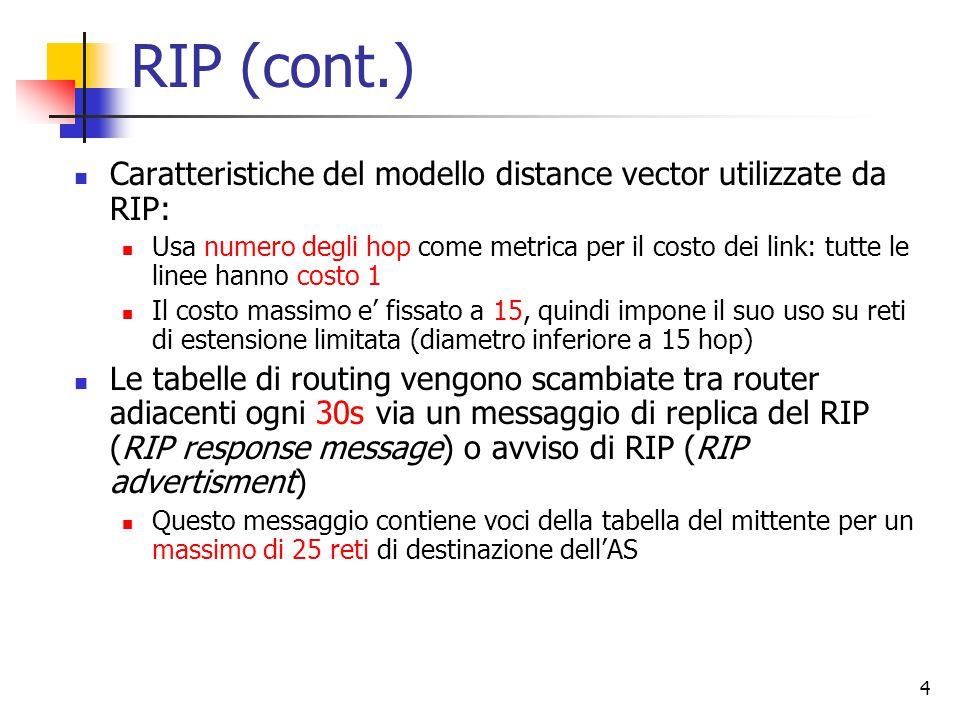 5 RIP (cont.) Qualora un router non ricevesse informazioni da un suo vicino per 180s, quest'ultimo viene etichettato come irraggiungibile Quando questo si verifica, modifica la sua tabella di routing e propaga l'informazione a tutti i suoi vicini ancora raggiungibili I router possono inviare anche messaggi di richiesta del costo dei vicini verso una destinazione usando messaggi di richiesta del RIP I messaggi di richiesta e di replica vengono inviati usando come trasporto l'UDP (protocollo di trasporto del TCP/IP connection less inaffidabile) I pacchetti UDP vengono trasportati in un datagram IP standard RIP di fatto usa un protocollo del livello di trasporto (UDP) su un protocollo di rete (IP) per realizzare le funzioni di instradamento che sono proprie del livello di rete