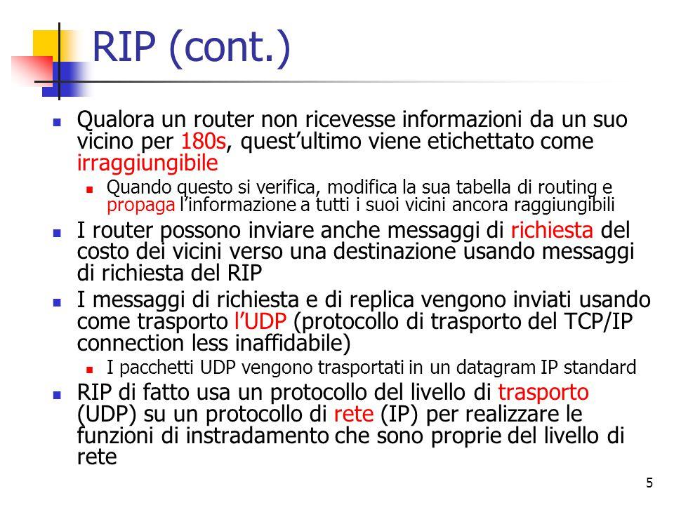 6 Protocolli IGP: OSPF Nel 1979 Internet e' passata ad un protocollo di tipo link state ciascun router utilizza il flooding per propagare lo stato delle sue connessioni agli altri router della rete ciascun router conosce la topologia completa della rete Alla fine del 1988 e' stato sviluppato un successore chiamato OSPF (Open Short Path First), definito nell'RFC 2328 OSPF e' oggi il piu' diffuso protocollo IGP utilizzato in Internet
