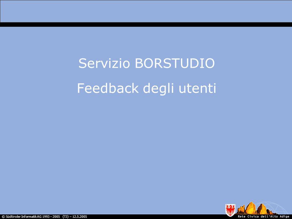 © Südtiroler Informatik AG 1993 – 2005 (TJ) – 12.5.2005 Servizio BORSTUDIO Feedback degli utenti