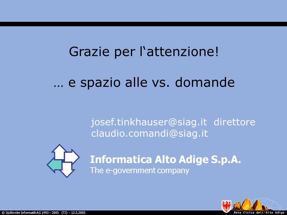 © Südtiroler Informatik AG 1993 – 2005 (TJ) – 12.5.2005 Informatica Alto Adige S.p.A.