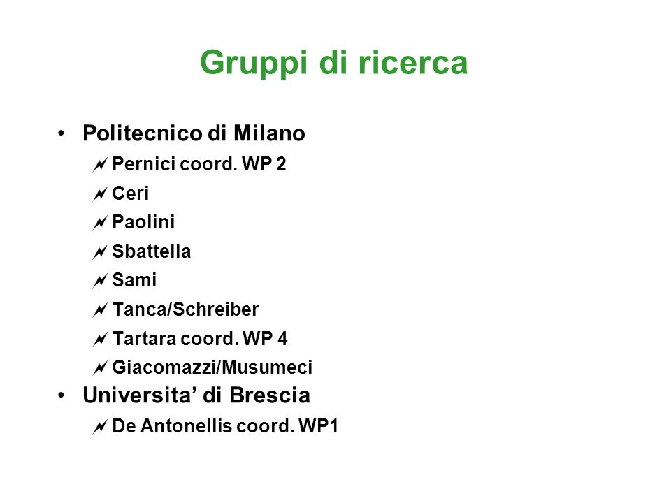 Gruppi di ricerca Politecnico di Milano  Pernici coord.