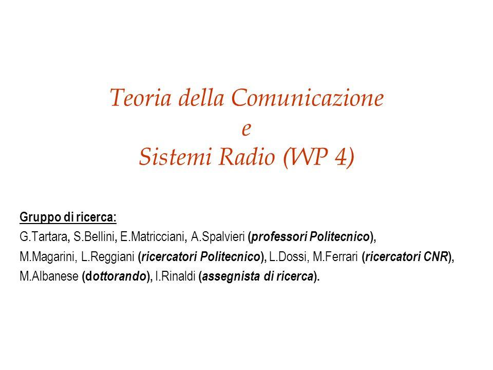 Teoria della Comunicazione e Sistemi Radio (WP 4) Gruppo di ricerca: G.Tartara, S.Bellini, E.Matricciani, A.Spalvieri ( professori Politecnico ), M.Magarini, L.Reggiani ( ricercatori Politecnico ), L.Dossi, M.Ferrari ( ricercatori CNR ), M.Albanese (d ottorando ), I.Rinaldi ( assegnista di ricerca ).