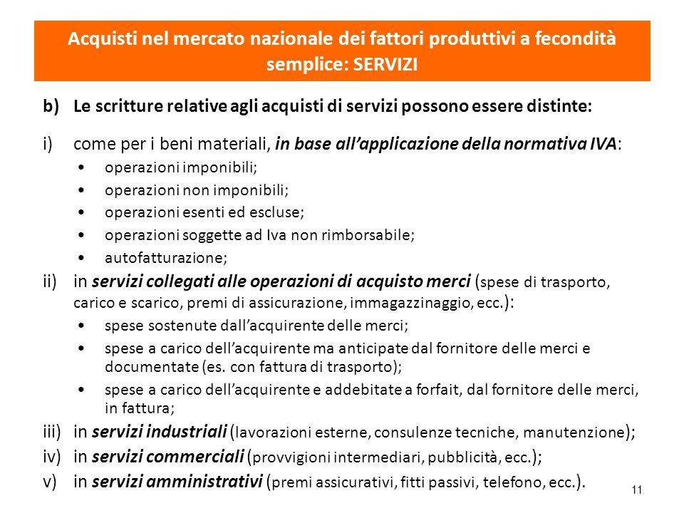 11 b)Le scritture relative agli acquisti di servizi possono essere distinte: i)come per i beni materiali, in base all'applicazione della normativa IVA