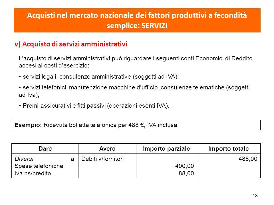 18 v) Acquisto di servizi amministrativi L'acquisto di servizi amministrativi può riguardare i seguenti conti Economici di Reddito accesi ai costi d'e